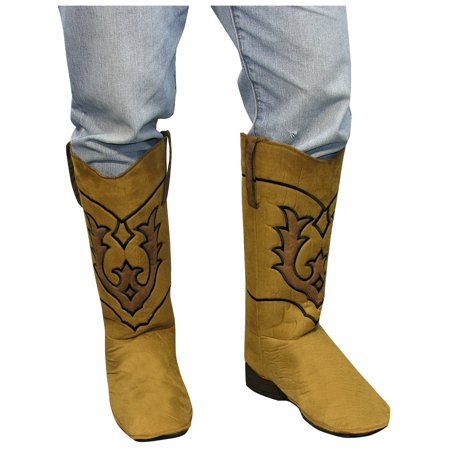 Adult Brown Cowboy Western Costume Accessory Boot Tops - Costume Boot