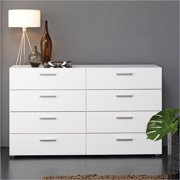 Atlin Designs Modern 8 Drawer Double Dresser with Bar Handles in White