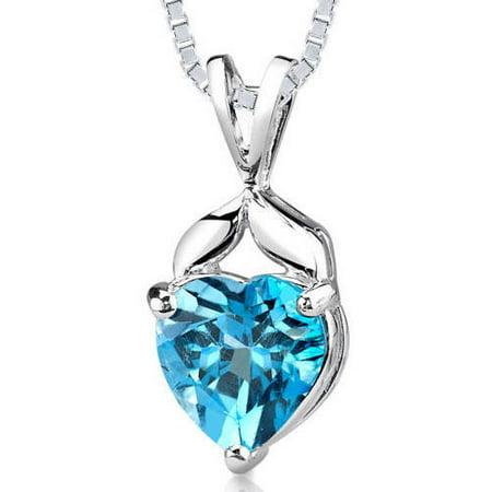 3 ct Heart Shape Swiss Blue Topaz Pendant Necklace in Sterling Silver, 18