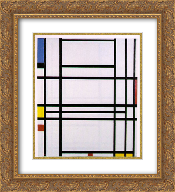 Piet Mondrian 2x Matted 20x22 Gold Ornate Framed Art Print 'Composition No.10'