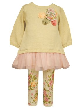 0fdca2ec4743 Product Image Bonnie Jean Little Girls Vintage Rose Sweater Legging Set 2T