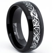 Oliveti  Stainless Steel Men's Black Silver Dragon Inlay Ring (8mm)