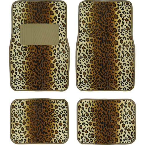 Plasticolor Leopard Wild Skins Floor Mat Set, 4pc