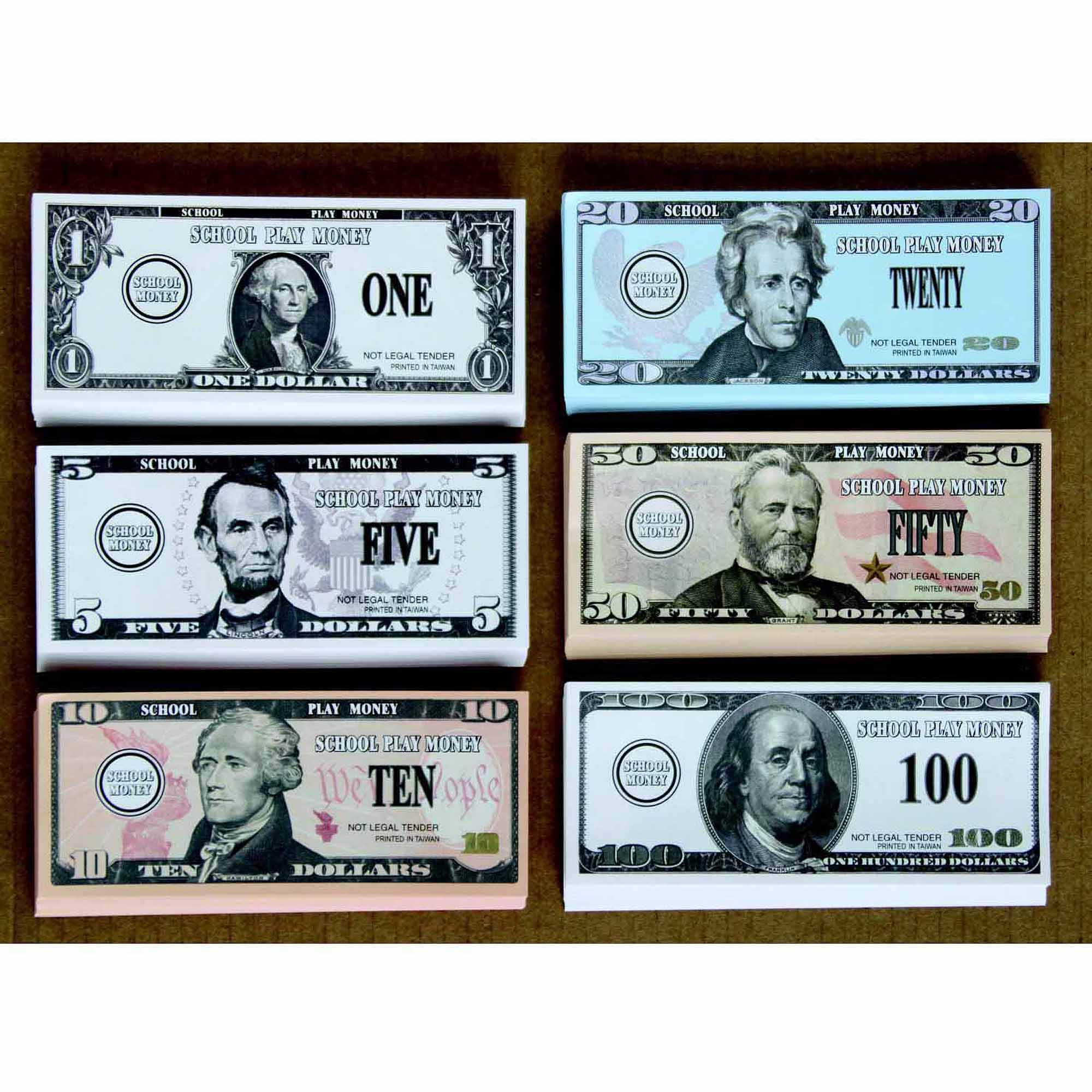 School Smart US Bills Play Money, Set of 320