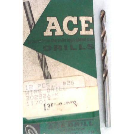 Ace Drill 302826-K #26 jobberGP twist  drill bit Pkg6