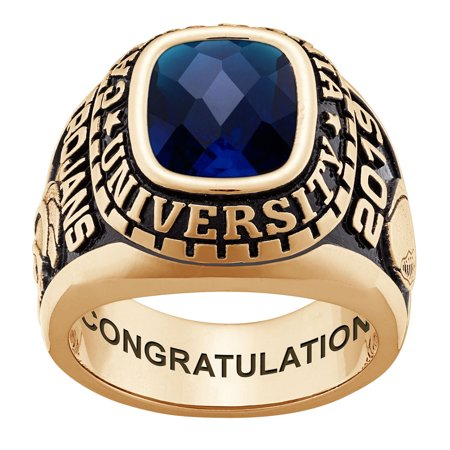 Personalized Checkerboard Stone Sterling Silver or Celebrium Large Men's Birthstone Class Ring (Walmart Graduation Rings)