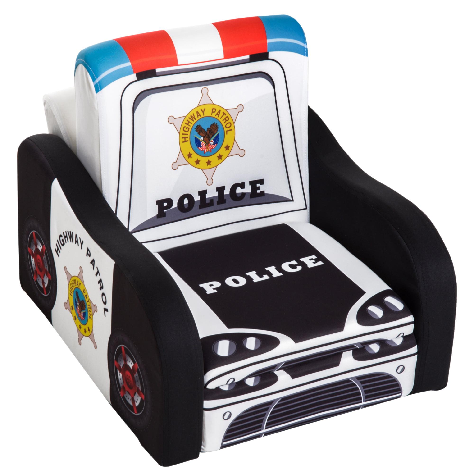 "Qaba 17"" Multi Spandex Storage Sofa Chair for Kids - Police Car"