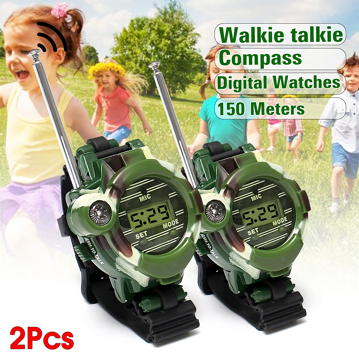 2pcs 7 In 1 Multi-function Toy Walkie Talkies Camouflage 150 Metres digital Wrist Watch Girl Boy Kids Children Toys Christmas gift