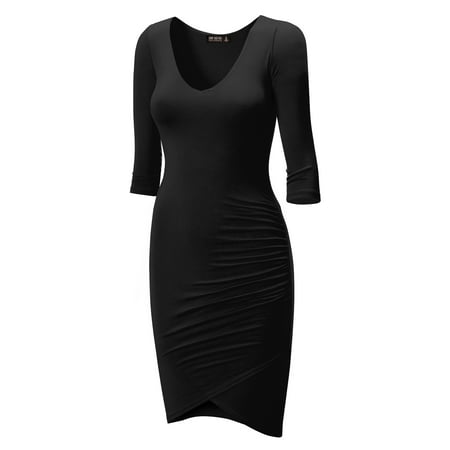 MBJ WDR940 Womens Deep V Neck 3/4 Sleeve Tulip Bodycon Dress S (Tulip Sleeve Dress)