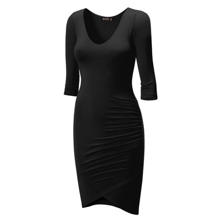 - MBJ WDR940 Womens Deep V Neck 3/4 Sleeve Tulip Bodycon Dress S BLACK