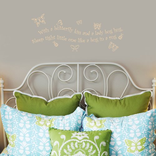 Fireside Home With a Butterfly Kiss and a Lady Bug Hug, Sleep Tight Wall Decal