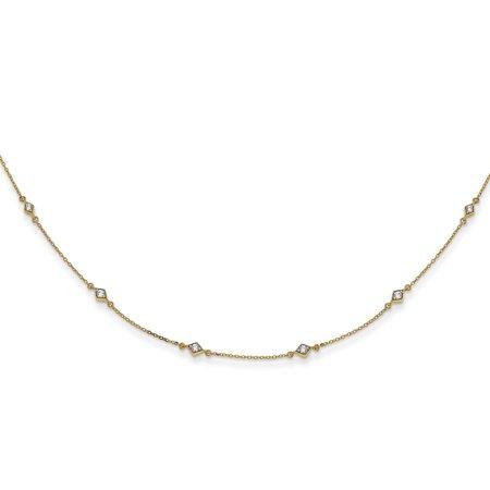 KIOKORI 14K Yellow Gold Diamond Multi Station Necklace 1/2-Carat
