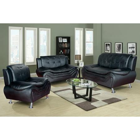 terrific black leather living room set   Frady 3 pc Black Faux Leather Moder Living Room Sofa set ...