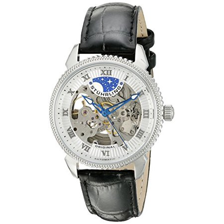 Men's 835.01 Special Reserve Automatic Skeleton Stainless Steel Watch With Black Leather Band Automatic Watch Stainless Steel Band