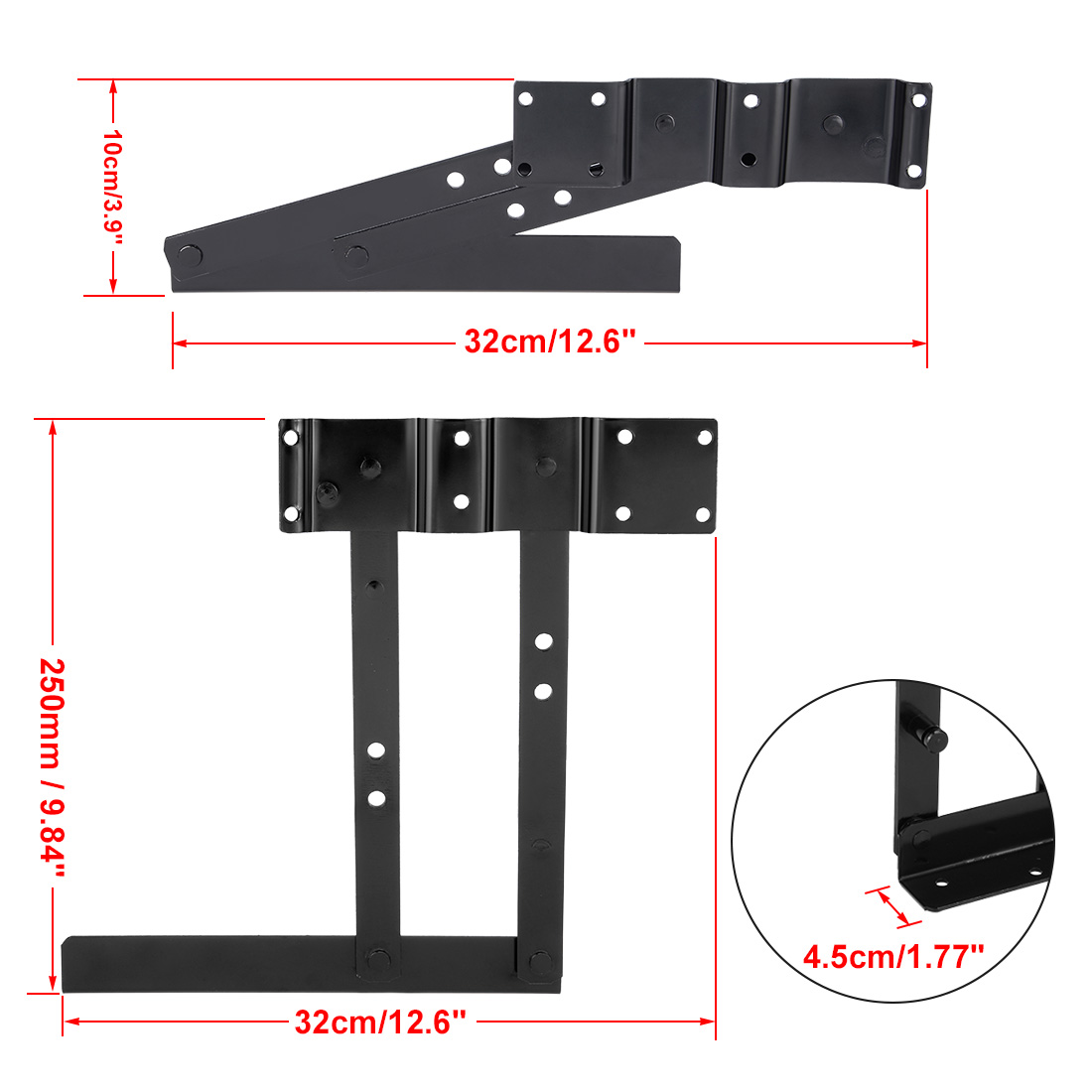 "Lift up Top Coffee Tea Table Desk Furniture Mechanism Bracket 1 Pair, 250mm/9.8"" - image 2 of 5"