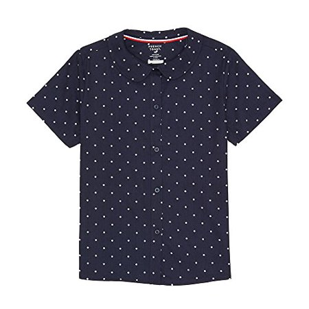 French Toast Girls' Toddler Short Sleeve Modern Peter Pan Collar Blouse, Navy and White, 2T
