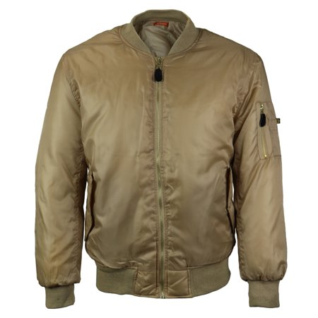 Men's Premium Multi Pocket Water Resistant Padded Zip Up Flight Bomber Jacket (Beige,M) - British Redcoat Jacket