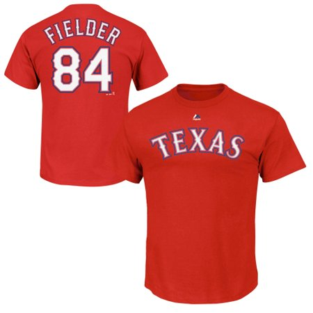 Prince Fielder Texas Rangers Majestic Official Name and Number T-Shirt - Red ()