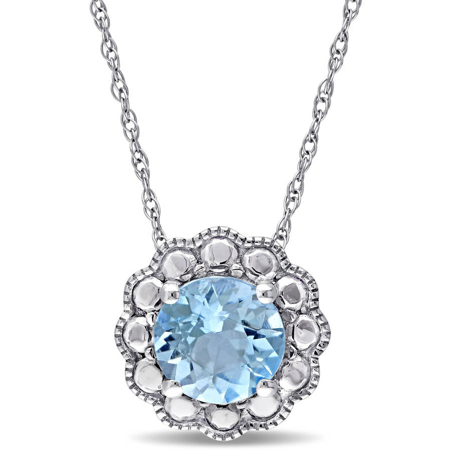 "Tangelo 1-1 4 Carat T.G.W. Blue Topaz 10kt White Gold Halo Pendant, 17"" by Tangelo"