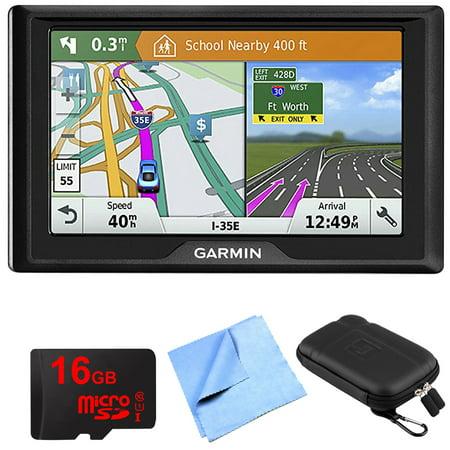 Garmin Drive 51 LM GPS Navigator with Driver Alerts USA (010-01678-0B) 16GB Micro SD Memory Card, 1 Piece Micro Fiber Cloth & 5 inch Universal GPS Navigation Protect and Stow (Navigator Memory)