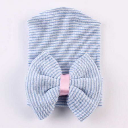 Newborn Baby Girl Infant Colorful Striped Bow Cap Hospital Warm Soft Beanie Hat Blue (Striped Top Hat)