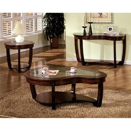 Furniture Of America Tunton 3 Piece Gl Top Coffee Table Set In Dark Cherry