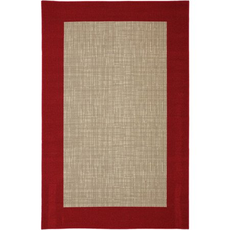 Mainstays Indoor Outdoor Rug Red Border Walmart Com