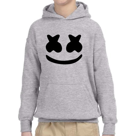 Trendy USA 935 - Youth Hoodie Marshmello DJ Smiley Face Unisex Pullover Sweatshirt Large Heather Grey ()
