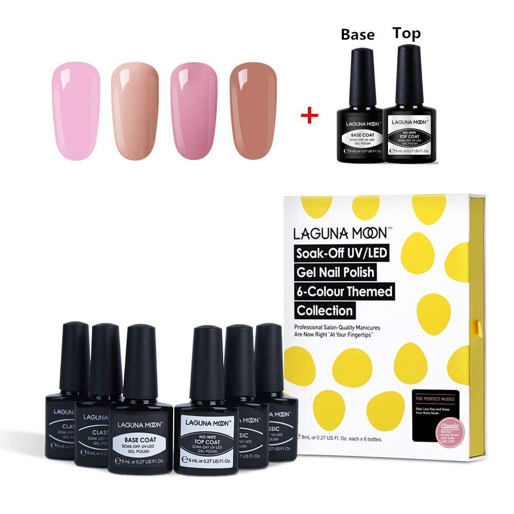 Lagunamoon Soak Off UV LED 4pcs Different Pink Gel Nail polish Set,And Gel Base Coat No Wipe Top Coat Nail Polish -The Perfect Nudes,6 Beautiful Color Themed Colloection