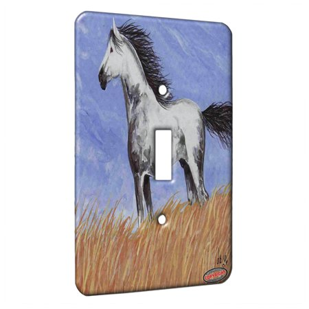 KuzmarK™ Single Gang Toggle Switch Wall Plate - Dappled Gray Mustang Western Plains Horse Art by Denise Every ()