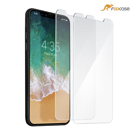 iPhone X Screen Protector, rooCASE 2-Pack Tempered Glass Screen Protector for Apple iPhone 10 - 9H Hardness, Premium Clarity, Scratch-Resistant, Lifetime