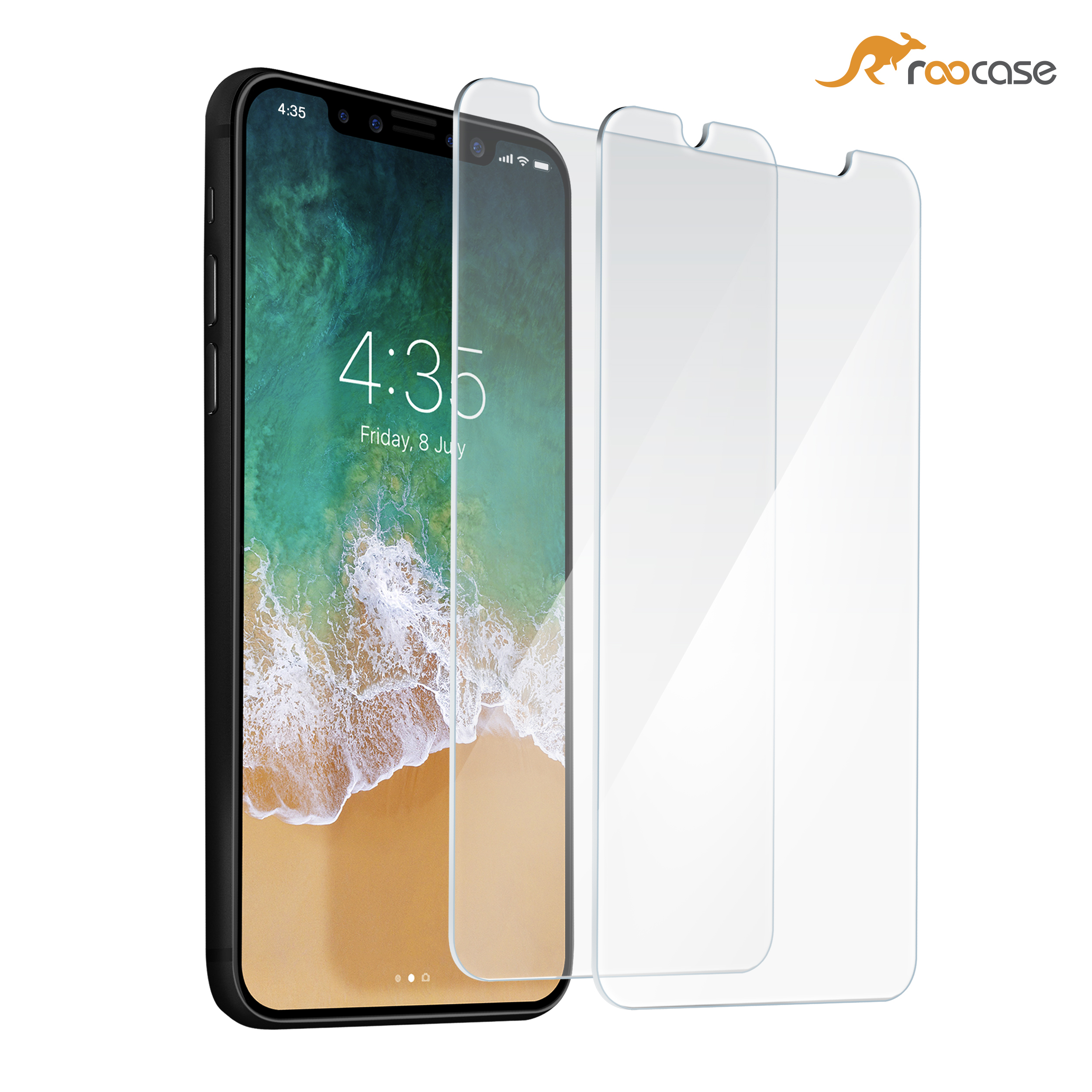iPhone X Screen Protector, rooCASE 2-Pack Tempered Glass Screen Protector for Apple iPhone 10 - 9H Hardness, Premium Clarity, Scratch-Resistant, Lifetime Warranty