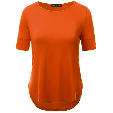 96b953bc186a Doublju - Doublju Women s Casual T Shirts Loose Short Sleeve Basic Tee Tops  with Solid Color ORANGE M - Walmart.com