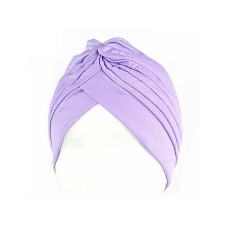 Womens Pleated Turban Knot Twist Cap Head Band Headwrap Hijab Muslim Hats Beanie