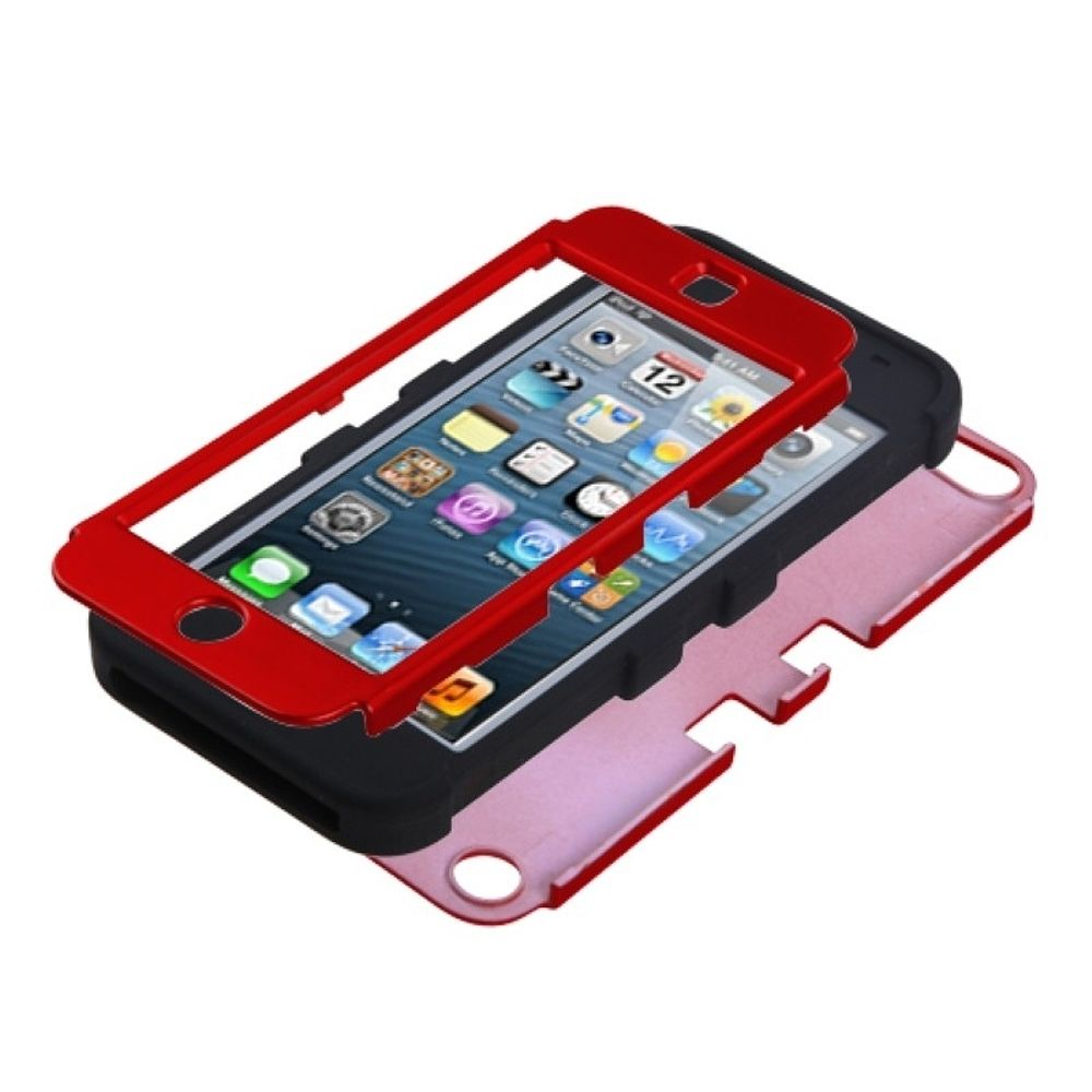 Insten Titanium Red/Black TUFF Hybrid Phone Case for APPLE: iPod touch (5th 6th Gen)