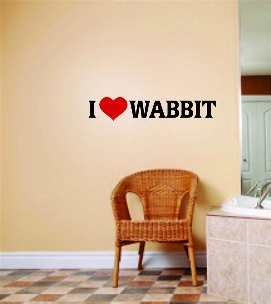 "Custom Wall Decal I Love Wabbit Quote Mens Hunting Sport Bedroom Home Decor Vinyl Wall Stickers 4 X 16"""