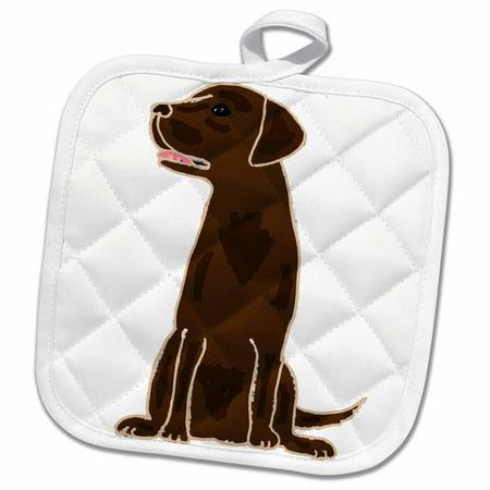 3dRose Cute Artistic Chocolate labrador Retriever Puppy Dog - Pot Holder, 8 by 8-inch