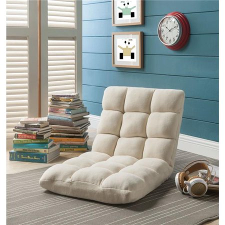 Microplush Modern Armless Quilted Recliner Chair with foam filling and steel tube frame - Beige - image 1 of 1
