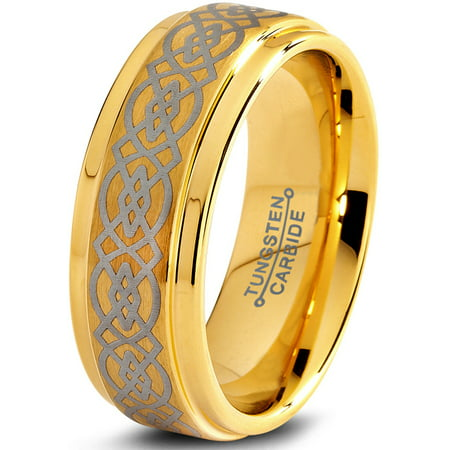 Tungsten Wedding Band Ring 8mm for Men Women Comfort Fit Celtic 18K Yellow Gold Plated Step Beveled Edge Brushed Polished Lifetime (Wide Celtic Wedding Band)
