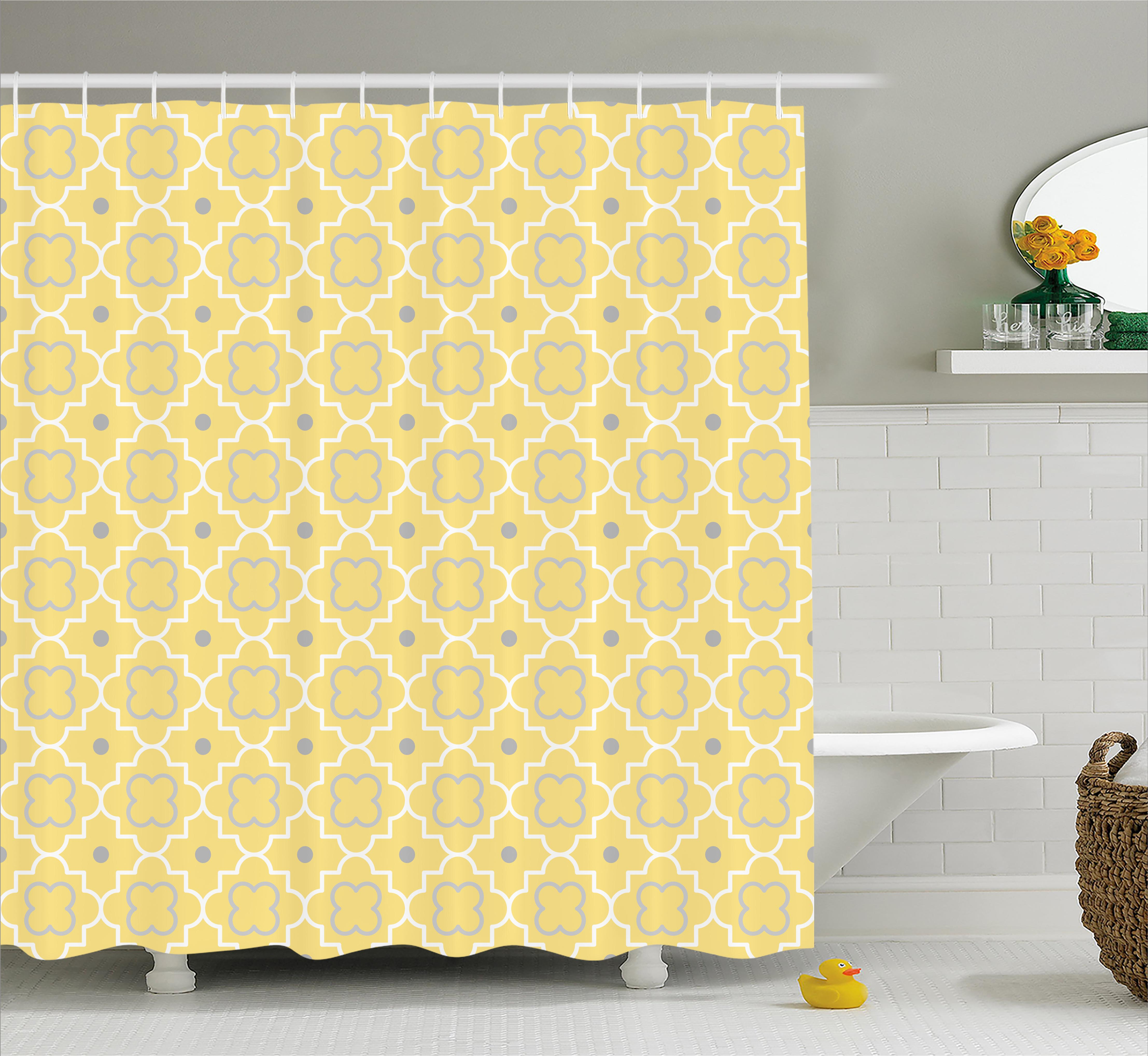 Quatrefoil Shower Curtain, Traditional Abstract Pattern with Moroccan Arabesque Middle Eastern Effects, Fabric Bathroom Set with Hooks, 69W X 70L Inches, Light Yellow, by Ambesonne