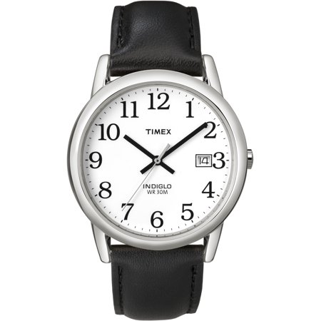 Men's Easy Reader Watch, Black Leather Strap Black Leather Square Watch