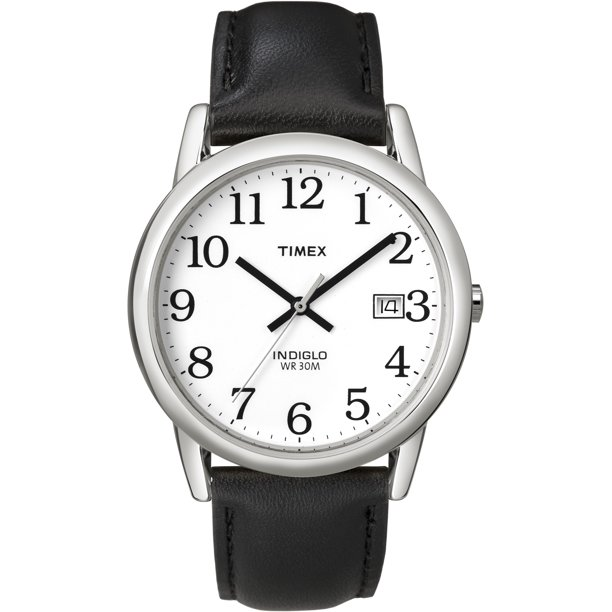 Timex Men's Easy Reader Date 35mm Black/Silver Leather Strap Watch