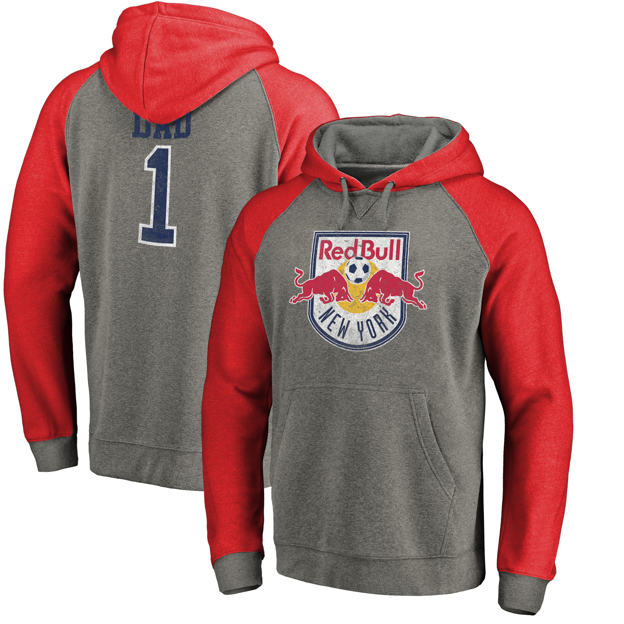 New York Red Bulls Fanatics Branded Greatest Dad Big and Tall Raglan Pullover Hoodie - Heathered Gray