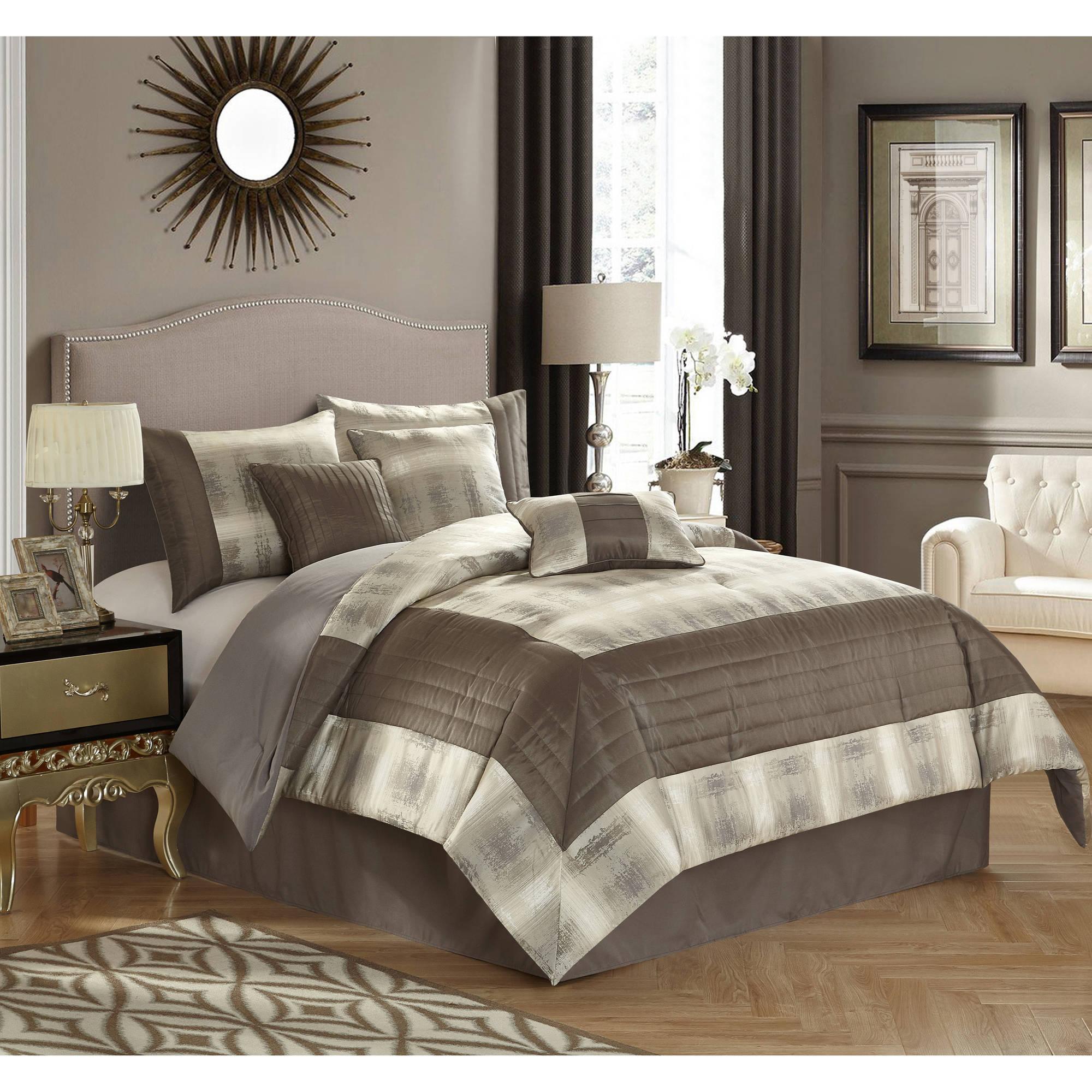Better Homes and Garden Grey Stripe 7-Piece Bedding Comforter Set