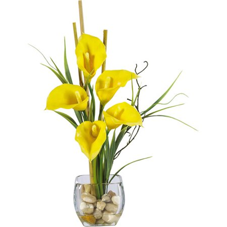 Calla lilly liquid illusion silk flower arrangement yellow calla lilly liquid illusion silk flower arrangement yellow mightylinksfo