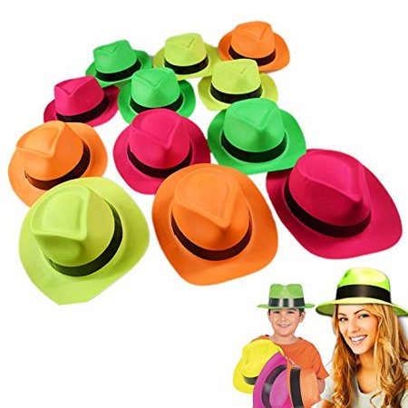 dazzling toys Neon Plastic Gangster Hats - 12 Pack - Dress Up Toy, Party Favor & Accessory For Photo Booths & Themed Parties - Assorted - Accessories For Photo Booth