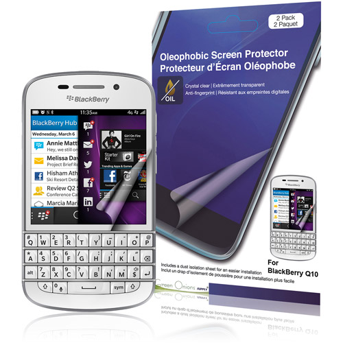GreenOnionsSupply Crystal Oleophobic Screen Protector for BlackBerry Q10, 2-Pack