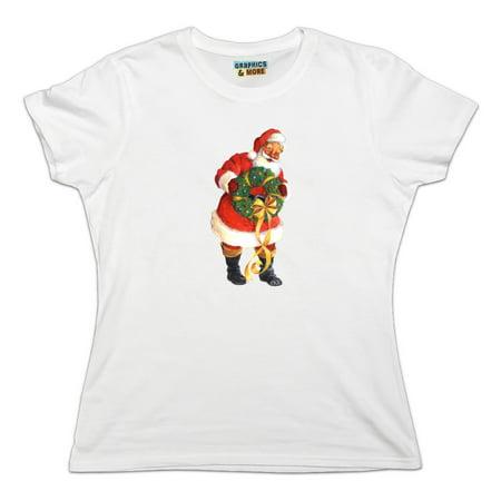 Christmas Holiday Santa Holding Wreath Women's Novelty T-Shirt Santa Holding Wreath