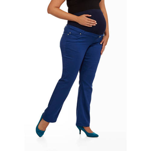 Maternity Plus-Size Full Panel Colored Jeans by