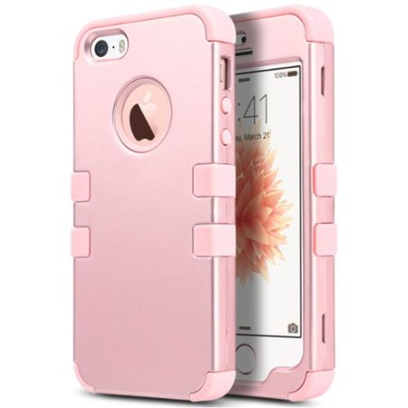 iPhone SE Case,ULAK iPhone 5S Case, 3 in 1 PC+Silicone Hybrid Shock-Absorbing Anti-slip Phone Cover for iPhone SE 5S 5, Rose gold + Rose gold (bling iphone 5s chanel case)